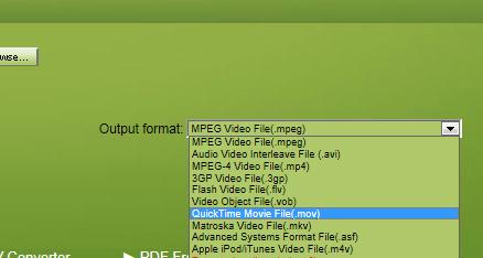 変換したいファイル形式を選択